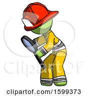 Green Firefighter Fireman Man Inspecting With Large Magnifying Glass Left