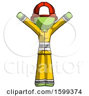 Green Firefighter Fireman Man With Arms Out Joyfully