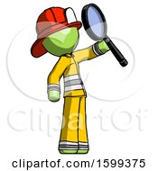 Green Firefighter Fireman Man Inspecting With Large Magnifying Glass Facing Up