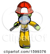 Green Firefighter Fireman Man Looking Down Through Magnifying Glass