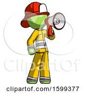 Green Firefighter Fireman Man Shouting Into Megaphone Bullhorn Facing Right
