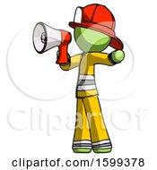 Green Firefighter Fireman Man Shouting Into Megaphone Bullhorn Facing Left