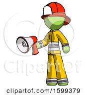 Green Firefighter Fireman Man Holding Megaphone Bullhorn Facing Right