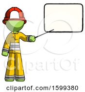 Green Firefighter Fireman Man Giving Presentation In Front Of Dry Erase Board