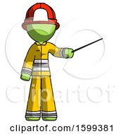 Green Firefighter Fireman Man Teacher Or Conductor With Stick Or Baton Directing