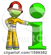 Green Firefighter Fireman Man With Info Symbol Leaning Up Against It