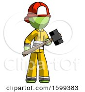 Green Firefighter Fireman Man With Sledgehammer Standing Ready To Work Or Defend