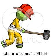 Green Firefighter Fireman Man Hitting With Sledgehammer Or Smashing Something