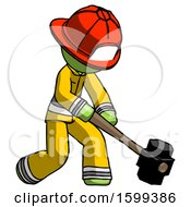 Green Firefighter Fireman Man Hitting With Sledgehammer Or Smashing Something At Angle