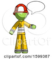 Green Firefighter Fireman Man With Word Bubble Talking Chat Icon