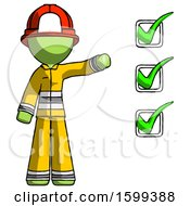 Green Firefighter Fireman Man Standing By List Of Checkmarks