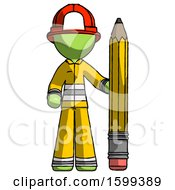 Green Firefighter Fireman Man With Large Pencil Standing Ready To Write
