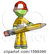 Green Firefighter Fireman Man Writer Or Blogger Holding Large Pencil