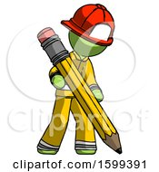 Green Firefighter Fireman Man Writing With Large Pencil