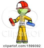 Green Firefighter Fireman Man Red Pill Or Blue Pill Concept