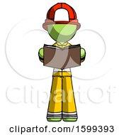 Poster, Art Print Of Green Firefighter Fireman Man Reading Book While Standing Up Facing Viewer