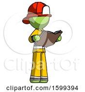Poster, Art Print Of Green Firefighter Fireman Man Reading Book While Standing Up Facing Away