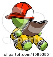 Poster, Art Print Of Green Firefighter Fireman Man Reading Book While Sitting Down