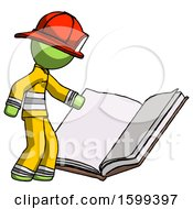 Poster, Art Print Of Green Firefighter Fireman Man Reading Big Book While Standing Beside It