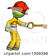 Green Firefighter Fireman Man With Big Key Of Gold Opening Something