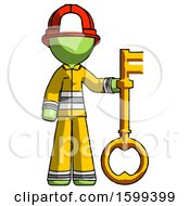 Green Firefighter Fireman Man Holding Key Made Of Gold