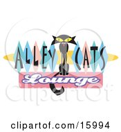 Slender Black Cat On An Alley Cats Lounge Sign Clipart Illustration