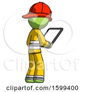 Green Firefighter Fireman Man Looking At Tablet Device Computer Facing Away