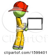 Green Firefighter Fireman Man Show Tablet Device Computer To Viewer Blank Area