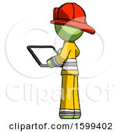 Green Firefighter Fireman Man Looking At Tablet Device Computer With Back To Viewer