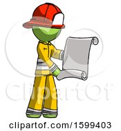 Green Firefighter Fireman Man Holding Blueprints Or Scroll