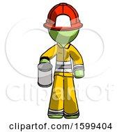 Green Firefighter Fireman Man Begger Holding Can Begging Or Asking For Charity