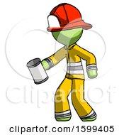 Green Firefighter Fireman Man Begger Holding Can Begging Or Asking For Charity Facing Left