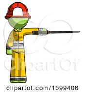 Green Firefighter Fireman Man Standing With Ninja Sword Katana Pointing Right