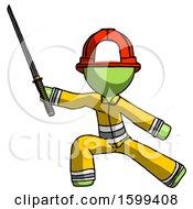 Green Firefighter Fireman Man With Ninja Sword Katana In Defense Pose