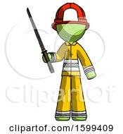 Green Firefighter Fireman Man Standing Up With Ninja Sword Katana