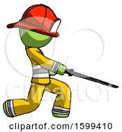 Green Firefighter Fireman Man With Ninja Sword Katana Slicing Or Striking Something