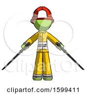 Green Firefighter Fireman Man Posing With Two Ninja Sword Katanas