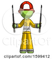 Green Firefighter Fireman Man Posing With Two Ninja Sword Katanas Up