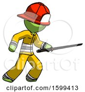 Green Firefighter Fireman Man Stabbing With Ninja Sword Katana