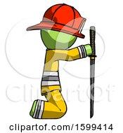Green Firefighter Fireman Man Kneeling With Ninja Sword Katana Showing Respect