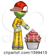 Green Firefighter Fireman Man With Giant Cupcake Dessert