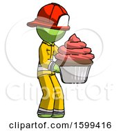 Green Firefighter Fireman Man Holding Large Cupcake Ready To Eat Or Serve