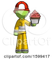 Green Firefighter Fireman Man Presenting Pink Cupcake To Viewer