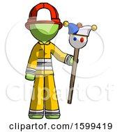 Green Firefighter Fireman Man Holding Jester Staff