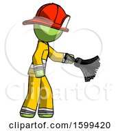 Green Firefighter Fireman Man Dusting With Feather Duster Downwards