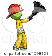 Green Firefighter Fireman Man Dusting With Feather Duster Upwards
