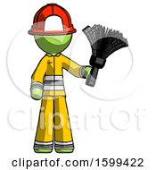 Green Firefighter Fireman Man Holding Feather Duster Facing Forward
