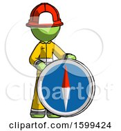 Green Firefighter Fireman Man Standing Beside Large Compass