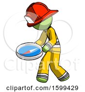 Green Firefighter Fireman Man Walking With Large Compass