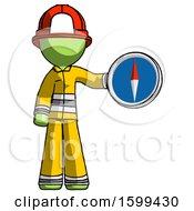 Green Firefighter Fireman Man Holding A Large Compass